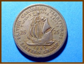 Британские Карибские территории 25 центов 1955 г.
