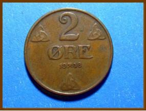 Монета Норвегия 2 эре 1938 г.