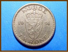 Монета Норвегия 1 крона 1954 г.
