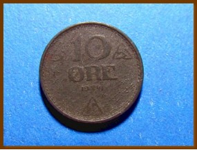 Монета Норвегия 10 эре 1941 г.