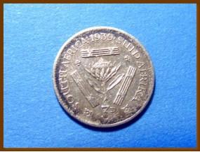 Южная Африка ЮАР 3 пенса 1939 г. Серебро