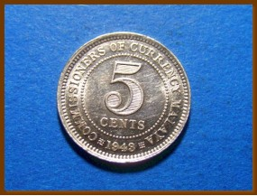 Британская Малайя 5 центов 1943 г. Серебро