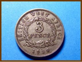 Британская Западная Африка 3 пенса 1938 г.