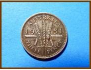 Австралия 3 пенса 1950 г. Серебро