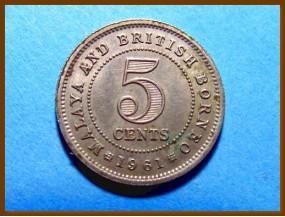 Британская Малайя 5 центов 1961 г.