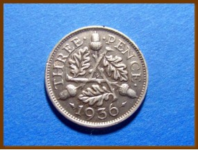 Великобритания 3 пенса 1936 г. Серебро
