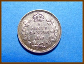 Канада 5 центов 1919 г. Серебро