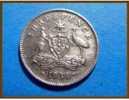 Австралия 3 пенса 1934 г. Серебро