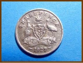 Австралия 3 пенса 1927 г. Серебро