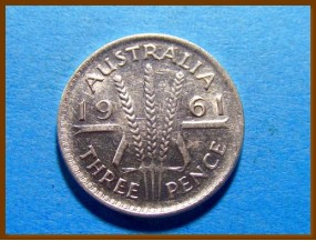Австралия 3 пенса 1961 г. Серебро