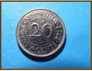 Маврикий 20 центов 2012 г.