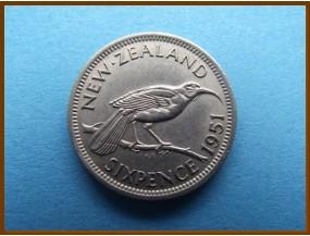 Новая Зеландия 6 пенсов 1951 г.