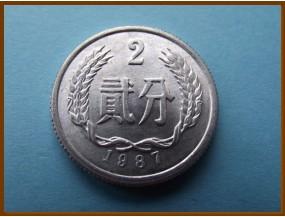 Китай 2 юаня 1987 г.