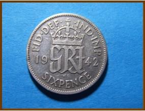 Великобритания 6 пенсов 1942 г. Серебро