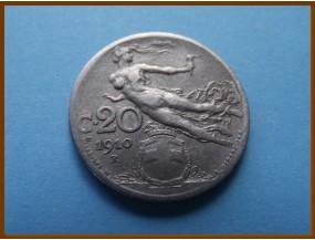 Италия 20 сантимов 1910 г.