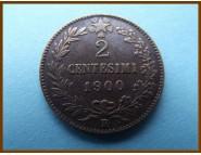 Италия 2 чентезимо 1900 г.