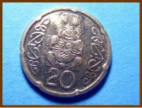 Новая Зеландия 20 центов 2014 г.